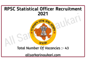 Read more about the article RPSC Statistical Officer Recruitment 2021